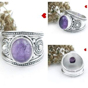 Amethyst Ring Designs 925 Silver Unique Handmade